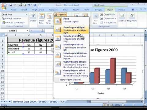 How to add or remove legends, titles or data labels in MS Excel