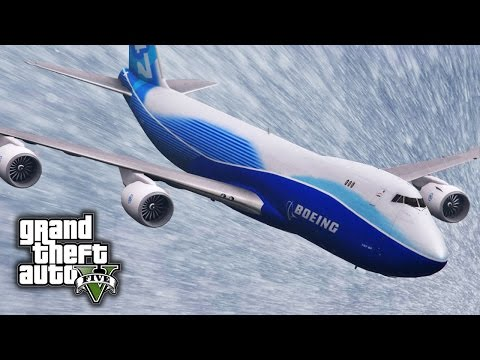 GTA V E44  - Boeing 747-8F Freighter Mod Showcase & Snow Flight Challenge