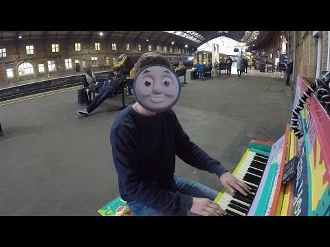 Guy plays Thomas the Tank Engine theme in a Train Station