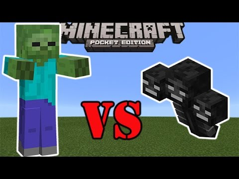 GIANT ZOMBIE VS WITHER BOSS | Minecraft PE Mob Battle