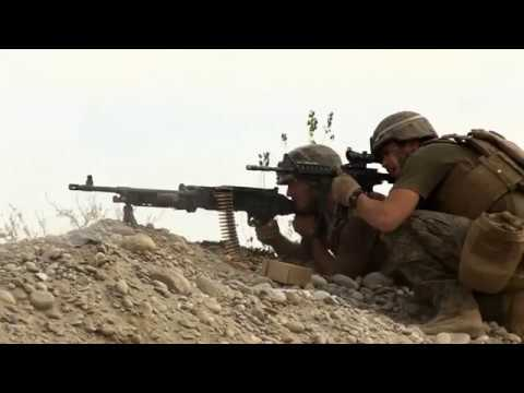 Graphic HD Video Marines in combat firefight against enemy in Afghanistan