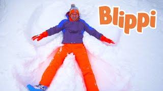 Blippi Makes Snow Angels | Educational Videos For Kids | Christmas Videos For Kids