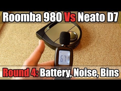 Roomba 980 vs Neato D7 - ROUND 4 - Battery Life - Noise Level - Bin Volume