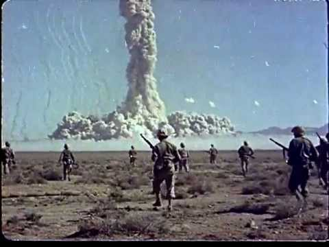 Color footage of soldiers being exposed to high levels of radiation