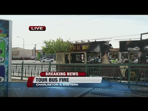 Tour bus catches on fire near Charleston/Eastern