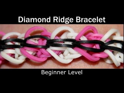 How to make a Rubber Band Diamond Ridge Bracelet - Easy Level