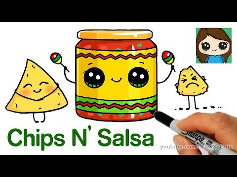 How to Draw Chips and Salsa Easy | Cute Snack Food