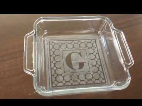 DIY Project Monogram Etched Glass Bakeware using Vinyl Decal Stencil
