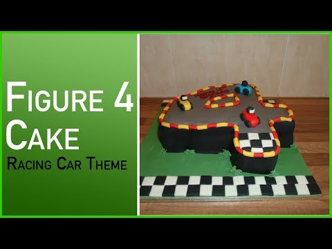 How To Make A Figure 4 Cake - Racing Car Cake with a Track Theme