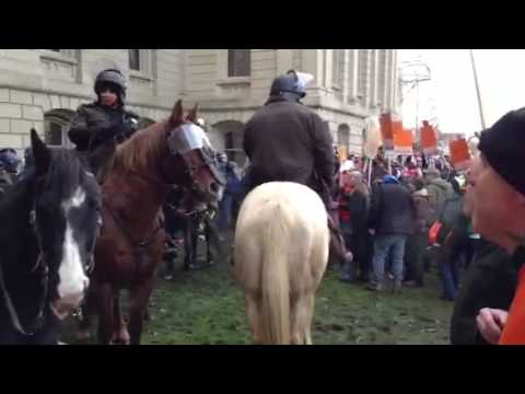 Confrontation between Police and Protesters at the Michigan Capitol