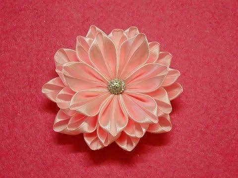 DIY Kanzashi flower,ribbon flower tutorial,how to,easy I REUPLOAD