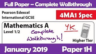 Edexcel IGCSE Maths A | January 2019 Paper 1H | Questions 17