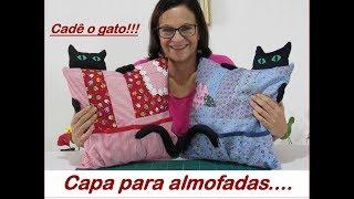 Capa para almofadas, Cadê o gato.....