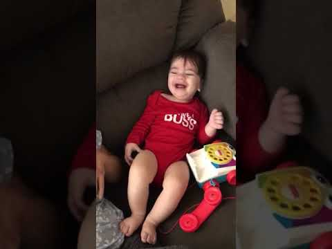 Baby Laughing at waving paper towel   (8 month old)