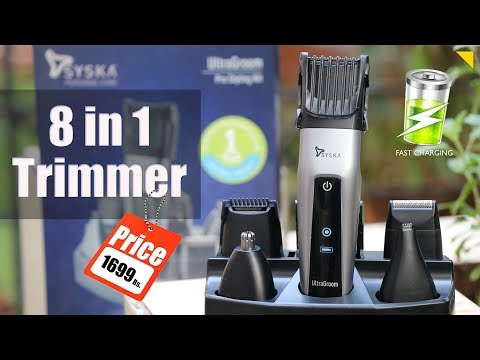 Syska HT3052K Cordless Trimmer Unboxing & Review | 8 in 1 grooming kit with fast charging