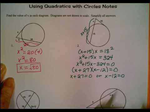Using Quadratics with Circles Notes