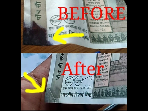 DIY remove ink pen stain from new 500rs indian note