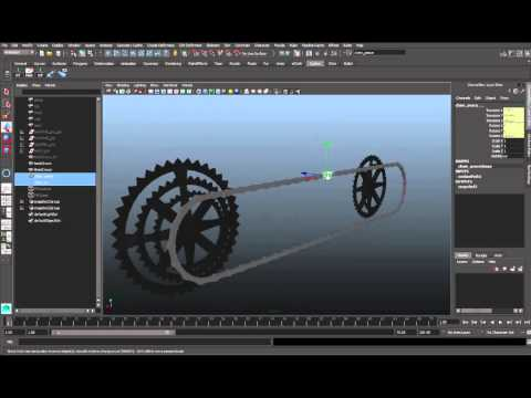 Maya 3d bike and motorcycle dynamic chain rig and animation part 2
