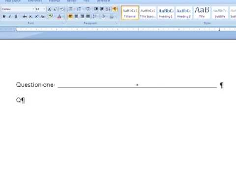 Creating lines in Word with tabs