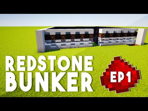 Let's Build: REDSTONE BUNKER EP1 - Redstone Walls, Secret Entrance (A Redstone Tutorial Series)