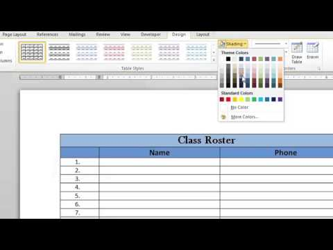 How to Put Color in a Table in Microsoft Word : Microsoft Word Doc Tips