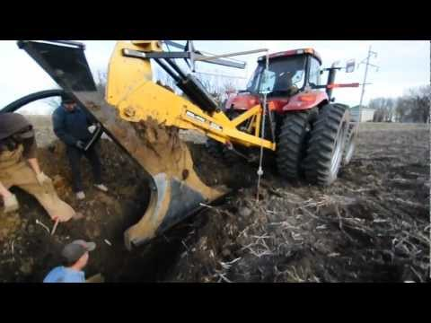 Installing Drain Tile with a Tile Plow in Minnehaha County,  South Dakota