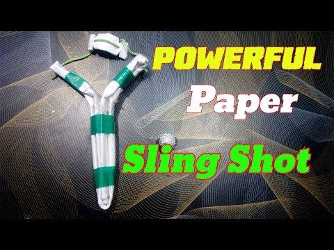 How To Make a Paper Slingshot Easy Way DIY   POWERFUL SLINGSHOT