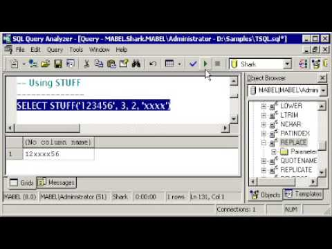SQL SERVER Tutorial -  T-SQL: REPLACE & STUFF -  LEN, LEFT, RIGHT - CHARINDEX