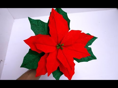 How To Make Tissue Paper Flowers Look Real - Poinsettia Flower Paper Craft - PAPER FLOWERS