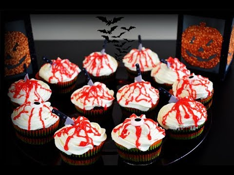 Super Easy Halloween Chocolate Bloody Cupcakes
