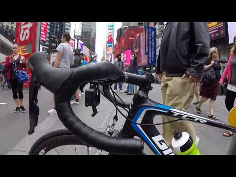 New York City cycling video Times Square Brooklyn Bridge Central Park