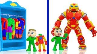 BABY MEETS SUPERHERO IRON HULKBUSTER 💖 Cartoons Play Doh Stop Motion