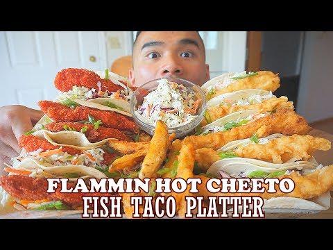 FLAMMIN HOT CHEETO'S  FISH TACO PLATTER   MUKBANG   DIY   QT