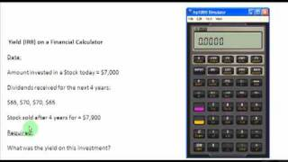 Yield Irr Of An Investment On Financial Calculator