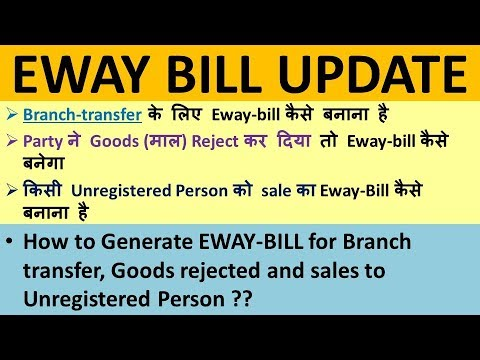 EWAY BILL FOR BRANCH TRANSFER, GOODS REJECTED, SALES TO UNREGISTERED PERSON