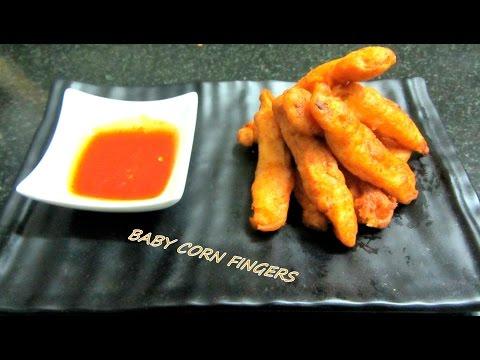Crispy Baby Corn Fingers,Baby Corn Fritters, Golden Fried Baby Corn In Marathi