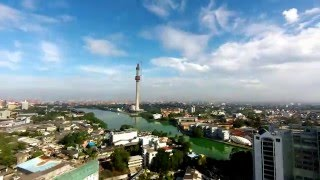 Morning clouds over Lotus tower Colombo, Timelapse.