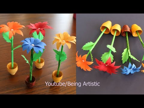 Small Paper Flower Pot - DIY - Handmade Craft - Home Decor