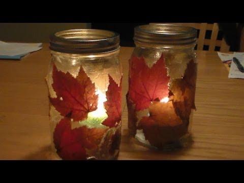 DIY Fall Lantern  DIY Autumn Candle Jar Holder