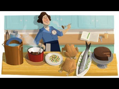 Julia Child cooks Google Doodle