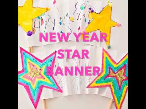 New Year Shooting Star Banner Kids Art