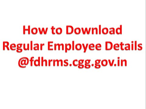 Download/Print Regular Employee Details @fdhrms.cgg.gov.in