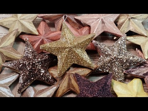 Handmade Christmas tree ornaments - Glitter stars