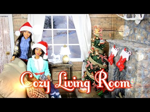 DIY - How to Make: Cozy Doll Living Room & Realistic Fireplace - Handmade - Doll - Crafts