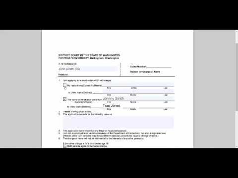 Name Change Petition - Whatcom County, WA