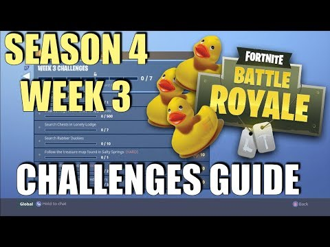 Fortnite - Season 4 Week 3 Challenges Guide | Rubber Ducky Locations | Follow the Treasure Map