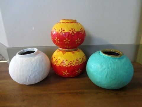 DIY : How To Make Round Pots | Vases Using Paper & Plaster Of Paris