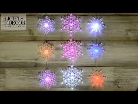 Color Change LED Snowflake Garland
