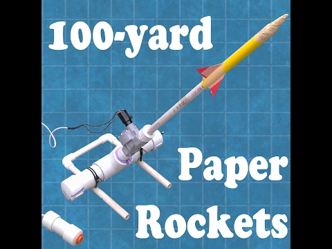 Demonstration of PVC, air-powered paper rocket launcher