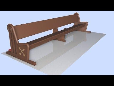 Design Church Pews Wood - 3D Models